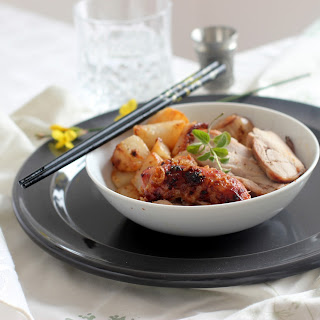 Japanese BBQ Turkey Thighs with Stir-Fried Turnips.