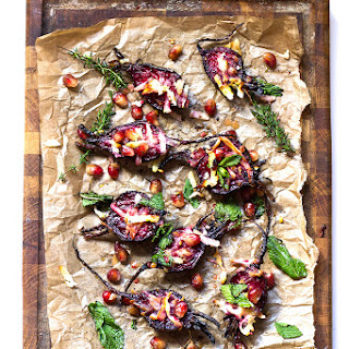 Roasted Beets with Halloumi and Pomegranate Vinaigrette