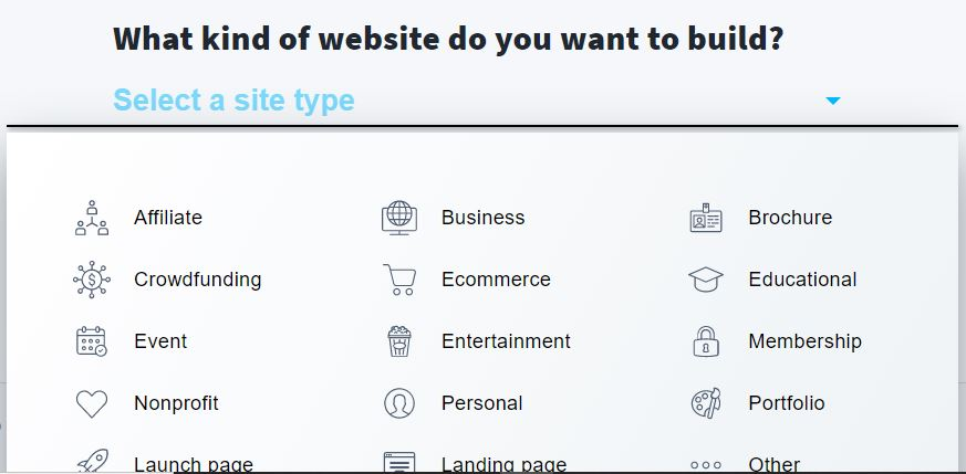 Select the type of website you want to build.