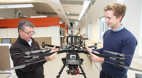 Associate Professor Mike Walsh with precision weed control scientist Guy Coleman and  PBI's multi spectral camera super drone, which will be just one of the sophisticated data gathering machines at the L'lara Digifarm.