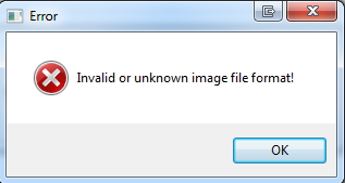 Error messsage Invalid or unknown image file format!