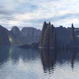 Rio Islands by Linda Czerwinski-Scott - Illustration Places ( illustration, bryce3d, landscape, montain )
