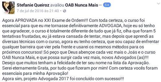 Aprovada OAB Nunca Mais - Stefanie Queiroz