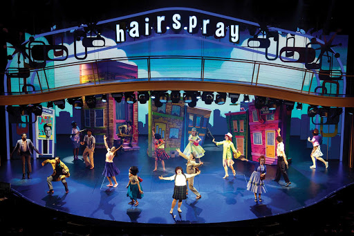 "A scene from the Broadway musical ""Hairspray"" on Symphony of the Seas."