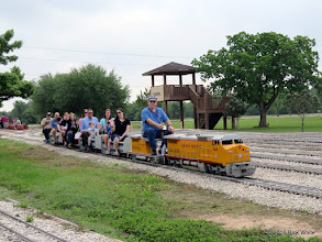 Photo: First train out of the station at 8:54 AM with Gerald Lee at the throttle and Bill Smith as conductor.    HALS Public Run Day 2016-0416
