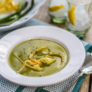 Asparagus and Pea Soup with Parsnip Crisps
