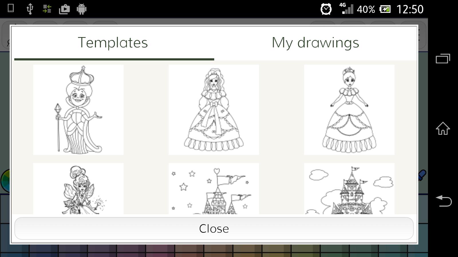 princess coloring games to play : Princess Coloring Book Screenshot