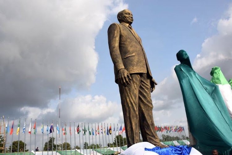 The giant statue that was unveiled in Imo State in Nigeria on 15 October 2017.