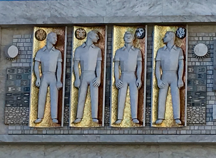 Representatives of the US Armed Services depicted on the exterior facade.