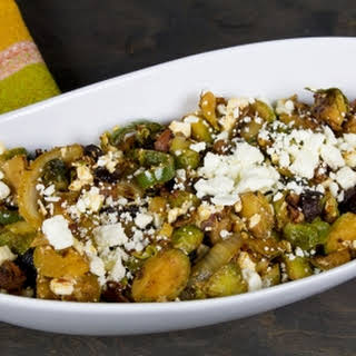 Brussels Sprouts with Jalapeno Peppers, Pancetta, Figs and Feta Cheese.