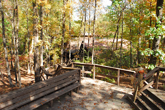 Photo: View of the 'song deck' and stairs headed down to Tsani Dining Hall.