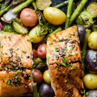 Sheet Pan Honey Balsamic Salmon with Brussels Sprouts.