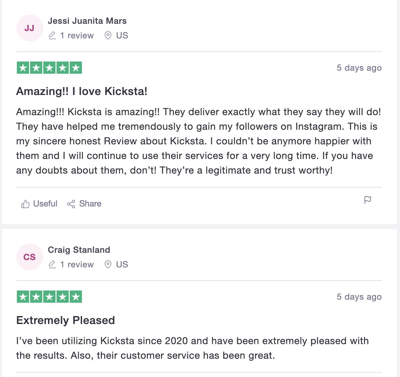 Kicksta trustpilot review
