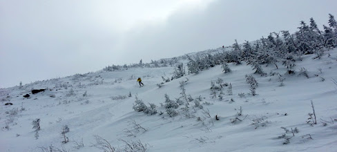 Photo: Skiing down low in the Chandler Ridge snowfield.