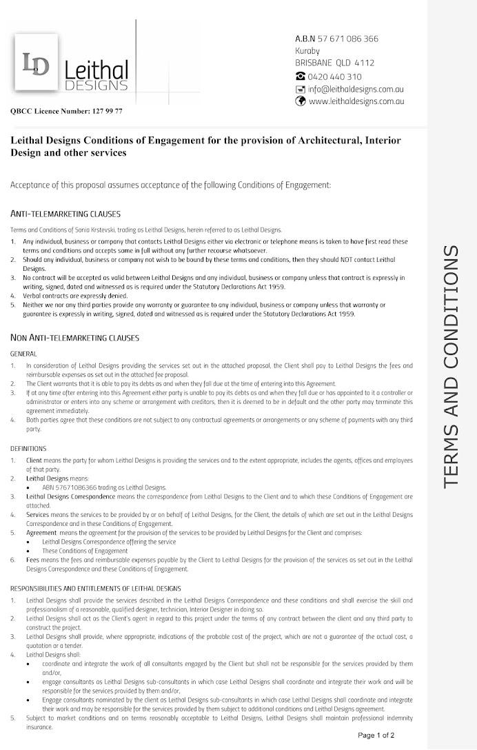 BRISBANE Building Design & Interior Design TERMS AND CONDITIONS
