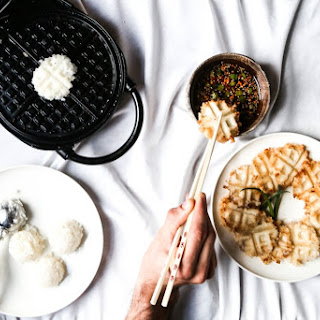 Sticky Rice Waffle Bites + Sesame Ginger Dipping Sauce.