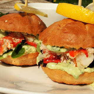 PEI Lobster Sliders with a Cilantro & Avocado Mayo
