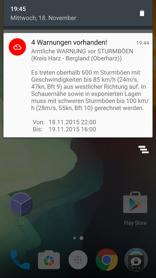 Wetterwarner [Widget]- screenshot