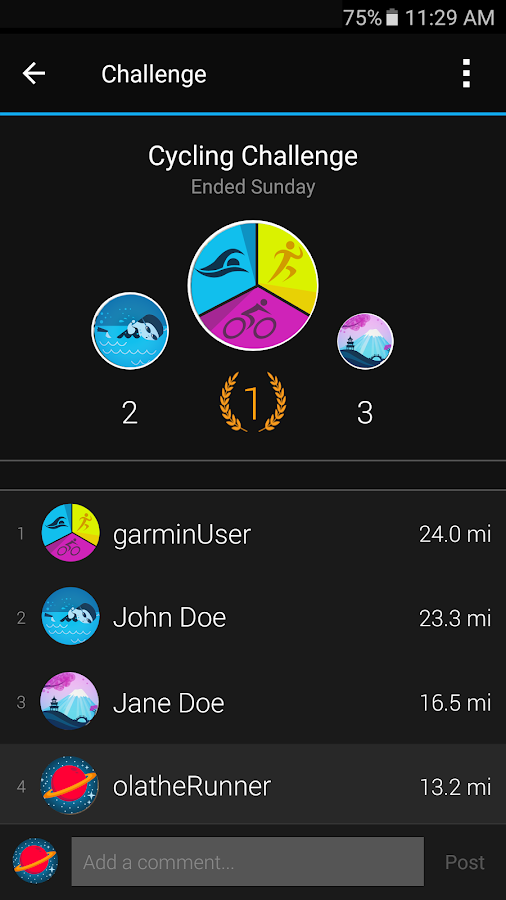 Garmin Connect™ Mobile – Screenshot
