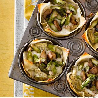 Asparagus-Mushroom Mini Lasagnas.