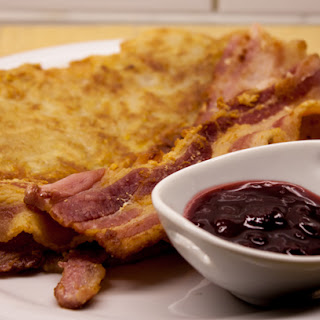 "Swedish ""Rårakor"" with fried pork and lingonberry"