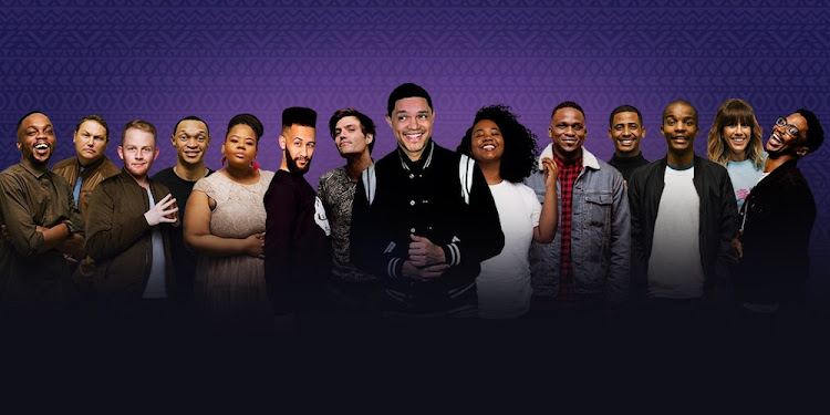 Noko Moswete (fifth from left) in Trevor Noah Presents NationWild, exclusive to Showmax