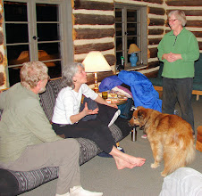Photo: Adult Charades. Bill, Big Celia, Ruby the dog, Linda