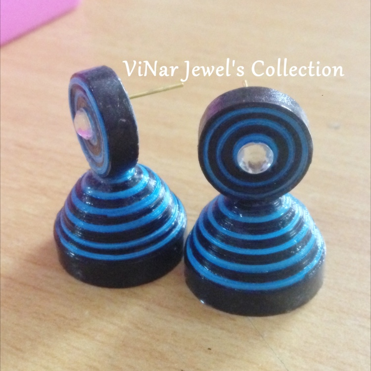 Quilled Jhumkas Blue & black by Vinar Jewel