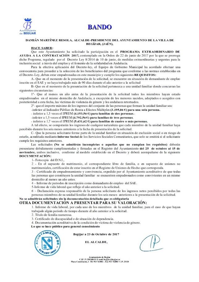Bando Programa Ayudas Contratación