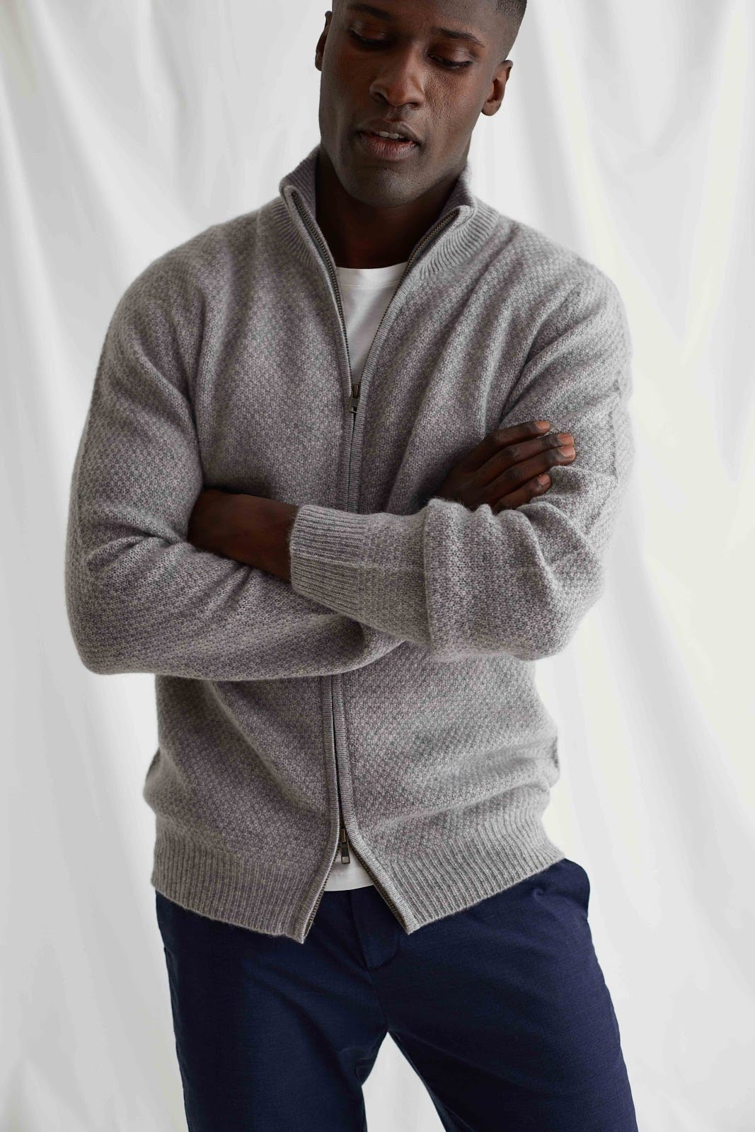 Man Textured Full Zip Cardigan
