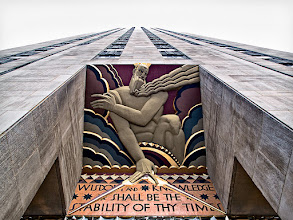 Photo: Earlier today +David English posted a picture of 'Wisdom' one of three bas relief panels which span one of the entrances to 30 Rockefeller Plaza. The other two are 'Light' and 'Sound'. I've always liked the Art Deco details on all of the buildings at Rockefeller Plaza and David's image prompted me to look through some shots I had take a couple years ago. I came across this shot which I had previously overlooked. It doesn't really convey the strong colors of the piece, but I liked the perspective.
