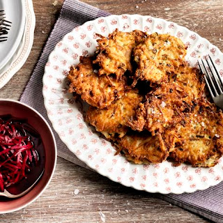 Spring Onion, Potato and Cheese Fritters with Quick Pickled Beetroot.