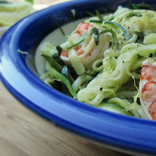 Lemon-Garlic Shrimp with Zucchini Noodles and Spinach.