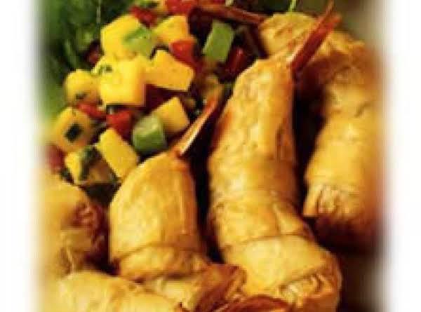Phyllo & Prosciutto Wrapped Shrimp With Papaya-tomato Relish