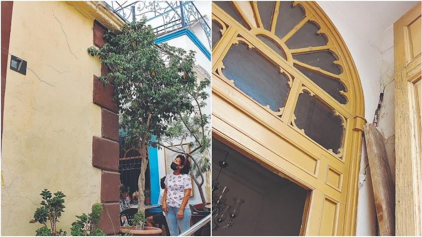 Dos imágenes en las que pueden apreciarse las grietas en la vivienda.