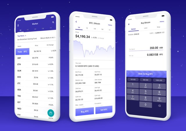 image of Voyager app for buying and selling cryptocurrency