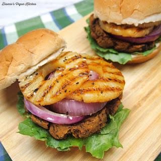 Vegan Teriyaki Black Bean Burgers with Grilled Pineapple