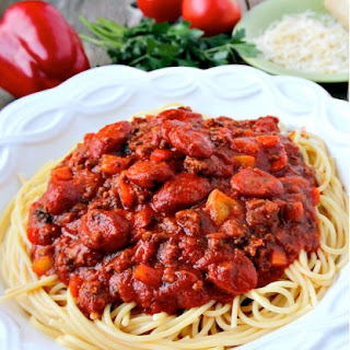 30 Minute Beef and Franks Spaghetti Meal.