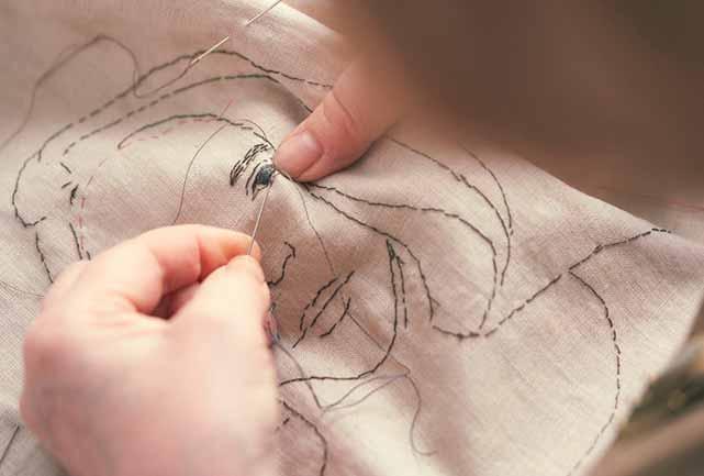 Textile Artist Sue Stone at work