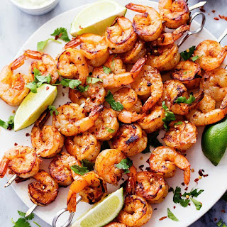 Grilled Spicy Lime Shrimp with Creamy Avocado Cilantro Sauce.