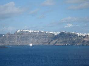 Photo: Check out this view of Fira, from the ferry as it approaches Santorini