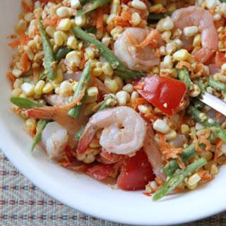 Corn Som Tam with Shrimp.