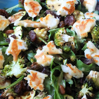 Baked Courgette, Broccoli and Pine Nut Salad with Halloumi and Sultana's