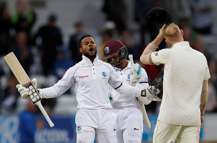 Record run: Shai Hope celebrates on Tuesday. Picture: REUTERS