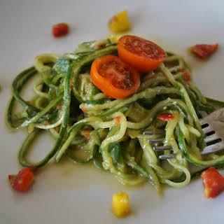 Cucumber Noodles With Avocado Pepper Sauce [Vegan, Raw, Gluten-Free].
