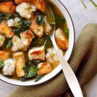 Chicken and Kale with Chive Dumplings.