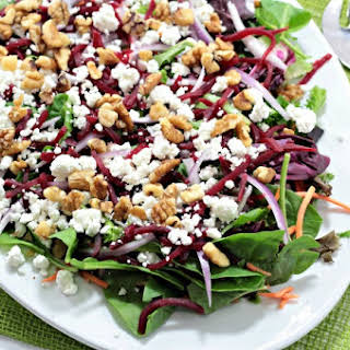 Baby Greens Salad with Beets & Goat Cheese.