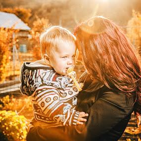 Autumn Love by Lubomir Gobs - People Family ( love, d700, autumn, family, woman, kids, nikon, sun )