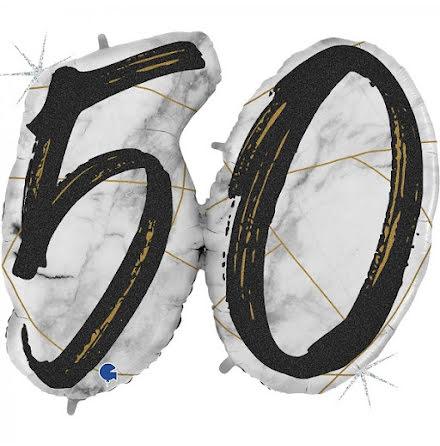 Folieballong - 50 marble - svart
