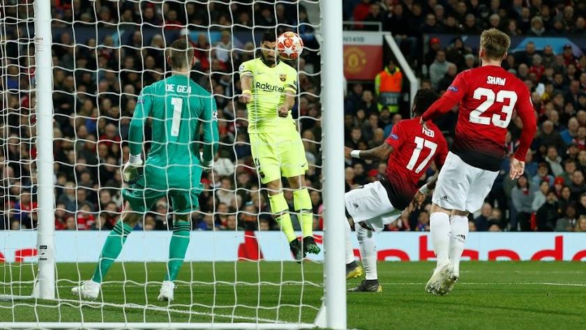 Momento en el que Luis Suárez marca el 0-1.